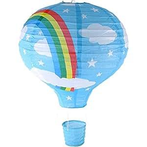 Rainbow hot air balloon ceiling light paper lantern lamp shade rainbow hot air balloon ceiling light paper lantern lamp shade blue aloadofball Images