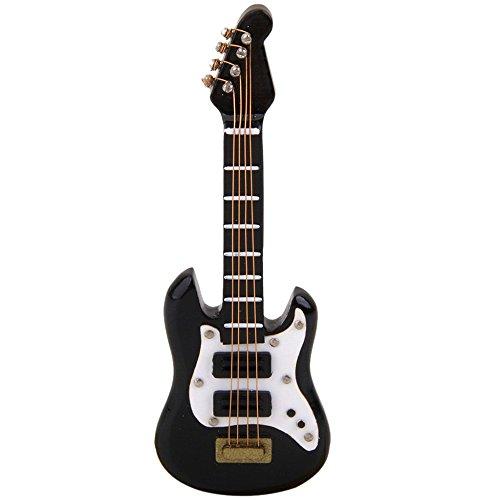 TOOGOO 1/12 Instrumento Musical Guitarra Electrica en Miniatura para Casa de Muneca Negro