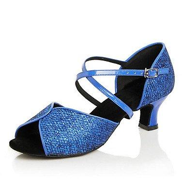Silence @ Chaussures de danse pour femme en cuir Cuir latine/moderne des chaussures Chunky Talon Practise doré
