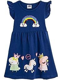 Peppa Pig Vestido para Niñas Verano | Conjunto Infantil Rosa Sin Mangas | Vestidos Niña Verano Algodón | Vestido con Arco Iris Multicolor | Regalo para Niñas De hasta 7 Años