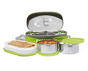 Milton Executive Lunch Insulated Tiffin with 3 Leakproof Containers, Green