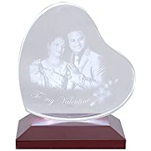 Tohfah4u Personalized Tilted Heart Shaped 3D Photo Crystal with LED Light Base