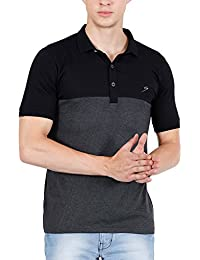 Scatchite Men's Polo T-shirt with Collar Stylish Half Sleeve Cotton Grey Black (HS-118)