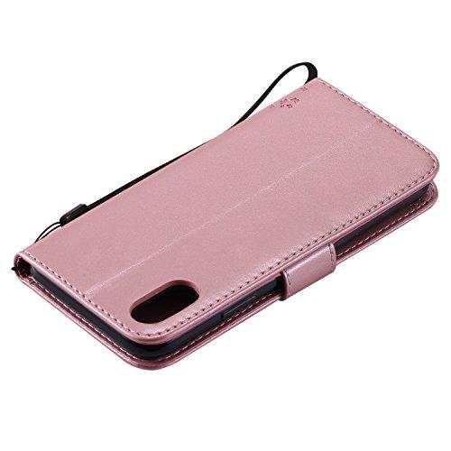 Cover iPhone X,ToDo Custodia Flip Copertina PU pelle per iPhone X Portafoglio Libro Protective Case con Chiusura Magnetica e Funzione di Supporto Cinturino da Polso Farfalla Albero Modello Stampata Co Oro Rosa
