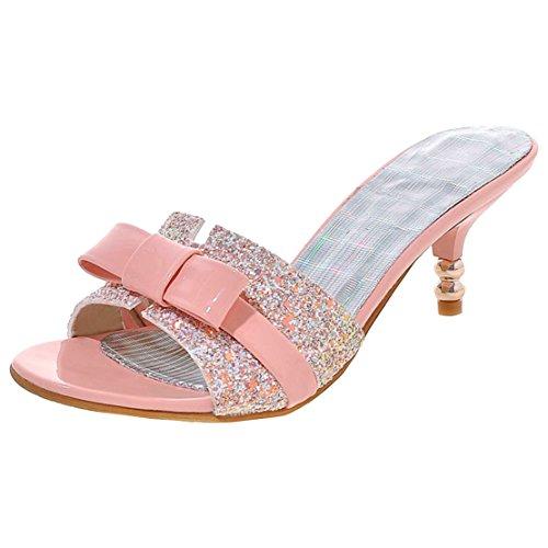 AIYOUMEI Damen Glitzer Kitten Heel Sandalen mit Schleifen Pantoletten Kleiner Absatz Schuhe Slippers Peep Toe Slingback Kitten Heel