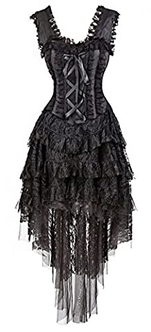 Halloween Costume De Costume Rouge - Kimring Women's Vintage Burlesque Saloon Girl Corset