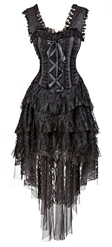 Kimring Women's Vintage Burlesque Saloon Girl Corset Dress Halloween Cancan Dancer Showgirl Moulin Rouge Costume Black (Halloween Burlesque)