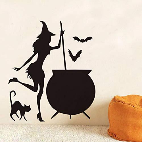 Ayhuir Hexenkessel Trank Fledermäuse Schwarze Katze Vinyl Diy Wandaufkleber Für Wohnzimmer Kunst Tapete Hause Halloween Dekoration Zubehör