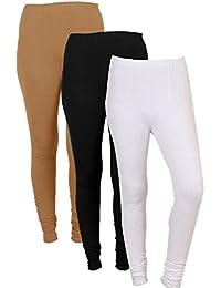 IndiWeaves Women Solid Chudidar Cotton Lycra Leggings (Pack Of 3)