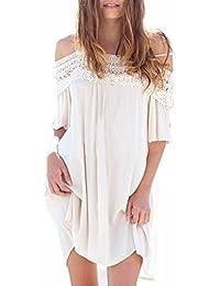 ZANZEA Vestido Corto Casual Elegante Fiesta Noche Cóctel Cuello con Encaje Off Shoulder para Mujer