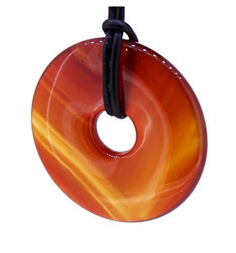 budawi® - Karneol Donut Anhänger 35 mm mit Lederband, Edelsteindonut Kettenanhänger Carneol