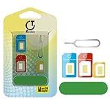 Gratein SIM Karten Adapter, 2 Stück Nano Micro Standard 5 in 1 SIM Karten Card Adapter Set Kit Konverter mit Polieren Blatt und öffnen Nadel - Farbe