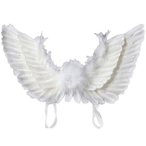 flügel aus Federn Damen Kinder Engel Fee Flügel Kostüm für Weinachten Halloween Party Karneval Dekoration Cosplay (Erwachsene, Weiß) (Schwarz Feder Engel Flügel)