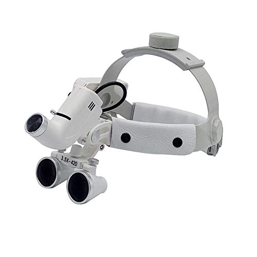 ZDXR Dental LED Surgical Headlight 3.5X420mm Leder Stirnband Lupe Dental Binocular Lupen Brille Kopfband Lupe Hohe Helligkeit Medizinische Lampe für Gefäßchirurgie Zahnimplantat