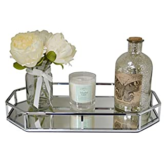 Maison Des Cadeaux New Decorative Silver Metal Octagon Shape Serving/Dressing Table Tray With Mirror Glass Base