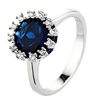 Lukis Round Zircon Bride Wedding Engagement Ring Jewelry Accessory Gift For Women Blue T 1/2