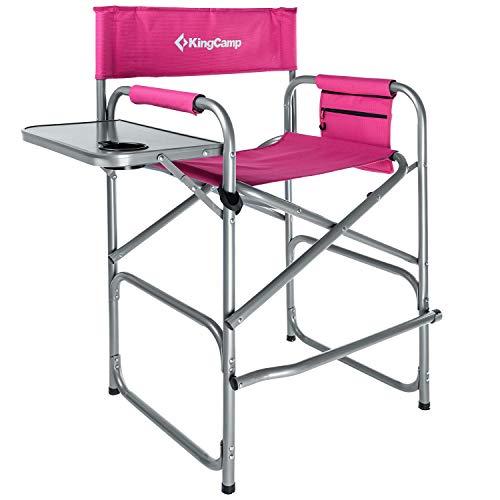 KingCamp hoher Regiestuhl Make-up Chair mit Fußablage bis zu 136kg belastbar Rosa