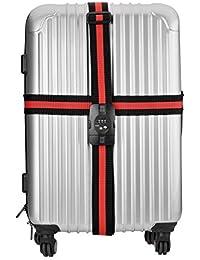 qobobo® Bagage Valise Croix sangle verrouillage sûr ceinture sécurité Voyage TSA Luggage Strap (Rouge - Noir)