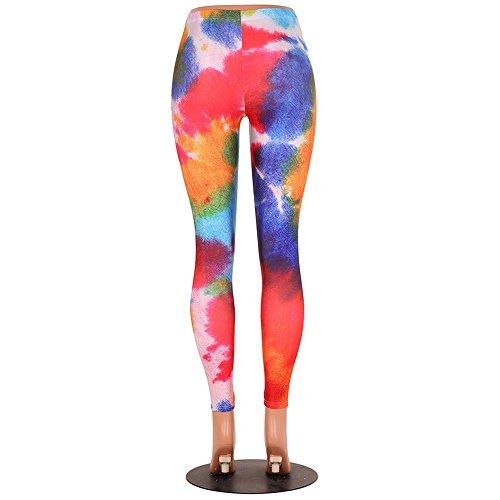 Wenyujh Femme Pantalon Stretch Skinny Imprimé Floral Legging Pantalon Crayon Collant Taille Haute Casual 12