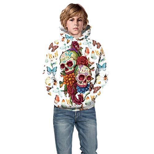 Tutu M&m Kostüm Teen Grün - Yanhoo Teen Kids Boy & Girl Halloween 3D Digitaldruck Hoodie Kapuzenpulli (5T 13T) Kinder Langarm Rollkragenpullover(Weiß,M)