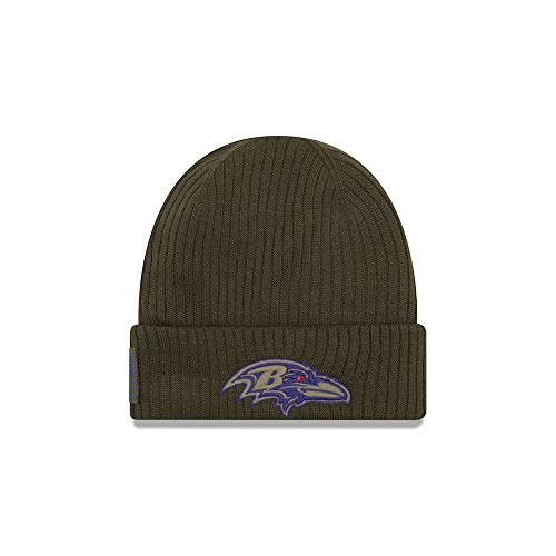 New Era Baltimore Ravens Beanie On Field 2018 Salute to Service Knit Green - One-Size Nike-knit Beanie