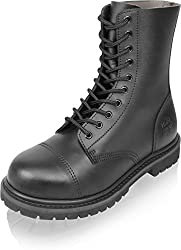 Gear Walk Springerstiefel 10, 14 oder 30 Loch mit Stahlkappe und echtem Leder Farbe Schwarz/10-Loch Größe 9
