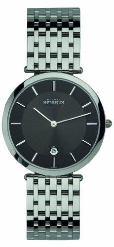 Michel Herbelin 414/B14 - Reloj analógico de cuarzo para hombre con correa de acero inoxidable, color plateado