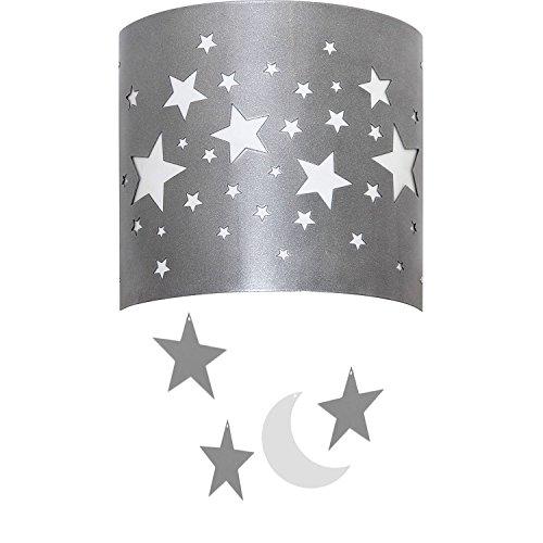 Ein Stern-wandleuchte (Graue Wandleuchte Sterne ARDA Kinder Lampe Für Mädchen Für Jungen Wandlampe Kinderzimmer Beleuchtung)