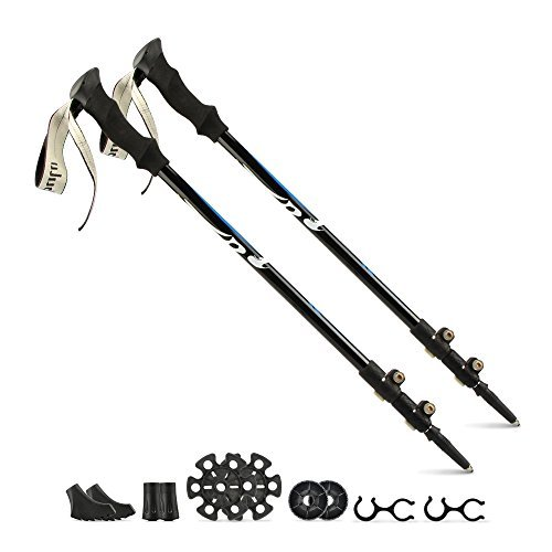 41jK9kNWUAL. SS500  - Sandure Nordic Walking Poles Collapsible, 2 Packs Ultralight Telescoping Hiking Poles Quick Lock with 7075 Aluminum Tungsten Tips -Black