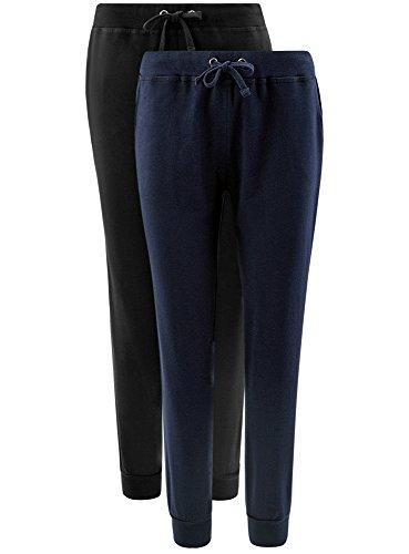 oodji Ultra Damen Jersey-Hose (2er-Pack) Mehrfarbig (19K4N)