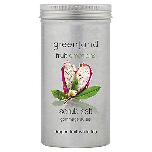 Greenland Peeling Salz mit Drachenfrucht Weißer Tee | Verwöhnendes Aroma Salzpeeling mit Öl | Tolles wohlduftendes Salzpeeling für Sauna Wellness -