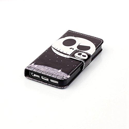 TOYYM Leder Flip Case für iPhone 7,Wallet Cover Hülle Schutzhülle Etui Tasche Rosa Bär Muster Design im Bookstyle mit Standfunktion Karteneinschub und Magnetverschluß Flip Case für iPhone 7 4.7 Zoll P Schädel