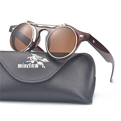 CYCY Flip Doppelschicht Sonnenbrille runde Linse Sonnenbrille Männer und Frauen runde Brille Sonnenbrille großen Rahmen Flut 2015-FG1234FML Leopardenmuster, braun