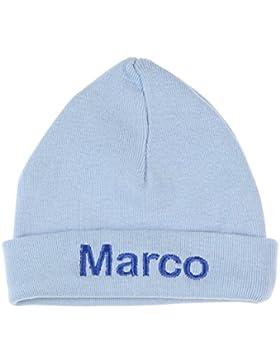 Babymütze hell blau (mit Namen) 62/68 - Mutzchen, Hute für Neugeborene Baby - Unisex Jungen Mädchen Jersey - Handgefertigt !