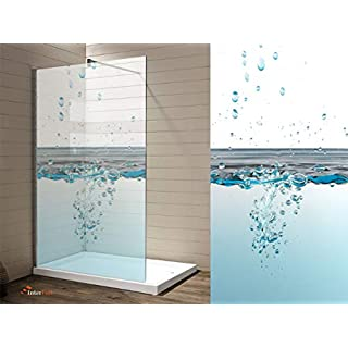 Interfoil Glas duschkabinen Aufkleber, Sichtschutz Duschabtrennung, hochwertiger Druck auf Glasdekor -Folie in Sandstrahl -Optik mit satinierten Oberfläche