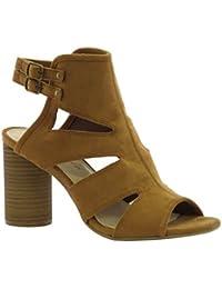 Dolcis - Sandalias de vestir de ante para mujer marrón canela
