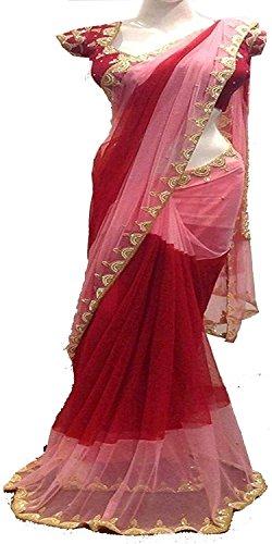 I-Brand Net Saree With Blouse Piece (Pink_ISUNSA2664_Freesize)