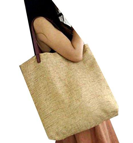 Damen Vintage Handtasche Leinen Schultertasche Outdoor Cotton Schultertasche Damen Canvas Uni Handtasche Retro Leinen Beige Tasche Leinen Und zxwOYIq7