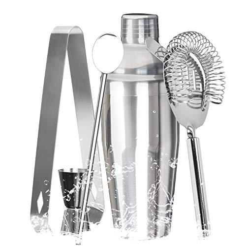5-teiliges Premium-Cocktail-Shaker-Set, 680 ml, Bar-Set mit integriertem Sieb mit Stößel, Rührlöffel, Messbecher, Eis-Clip - tolle Bar-Werkzeuge für Martini-Drink Mixer Barware -