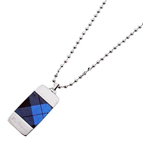 pendentif-ben-sherman-pour-homme-en-forme-de-plaque-militaire-bleue-tartan-avec-chaine-de-50-cm