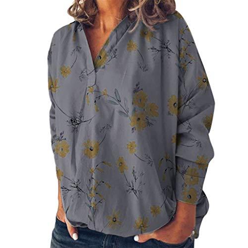 Amcool Neu Damen Elegant Langarm Bluse mit V-Ausschnitt Vintage Blumen Drucken Blusenshirt Oversize Tunika Oberteile Vintage Hemd T-Shirt Tops (Shirt Vintage Western Bestickt)