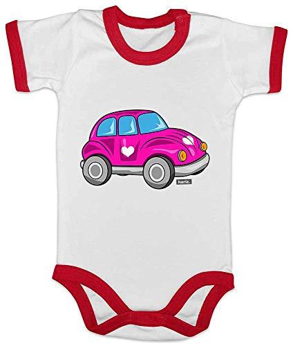 HARIZ Baby Body Ringer Herz Auto Auto Polizei Plus Geschenkkarte Weiß/Rot 12-18 Monate -