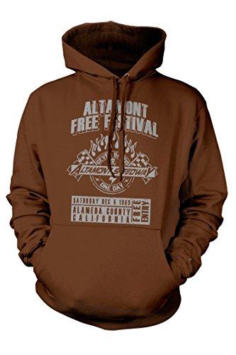 ROLLING STONES inspired ALTAMONT FREE FESTIVAL Hoodie, Medium, Kaffeebraun (Altamont Bekleidung)