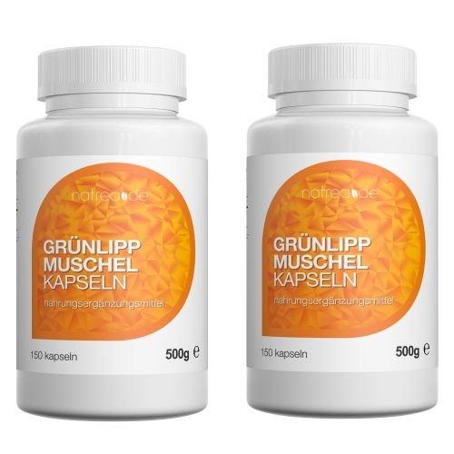 Natrea Grünlippmuschel Kapseln | 300 Kapseln ✔ hoch konzentriert ✔ ca. 120 Tage Anwendung ✔ reich an Omega-3-Fettsäuren ✔ für gesunde Gelenke und kräftige Sehnen