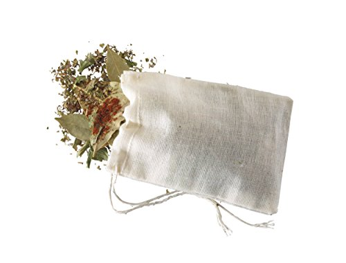 KitchenCraft Home Made Spice Bags for Cooking, Cotton, Pack of 4 Reusable Bouquet Garni Infuser Bags