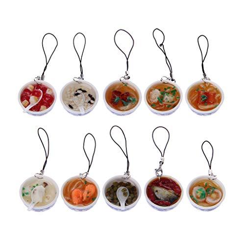 laue und Weiße Porzellan Schüssel Mini Simulation Lebensmittel Nudeln Schlüsselanhänger Spielzeug ()
