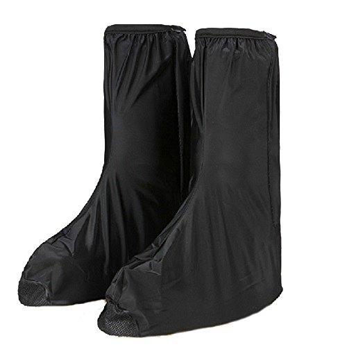 Homme Moto Overboot Gear étanche pluie Glow Couvre-bottes de chaussures de sécurité Réflecteur scellé Noir Guêtres d'équitation pour le Bateau de pêche randonnée (Euro Taille 44–45)