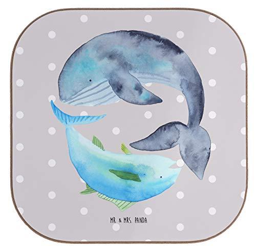 Mr. & Mrs. Panda Geschenke, Frühstück, Quadratische Untersetzer Walfisch & Thunfisch - Farbe Grau Pastell