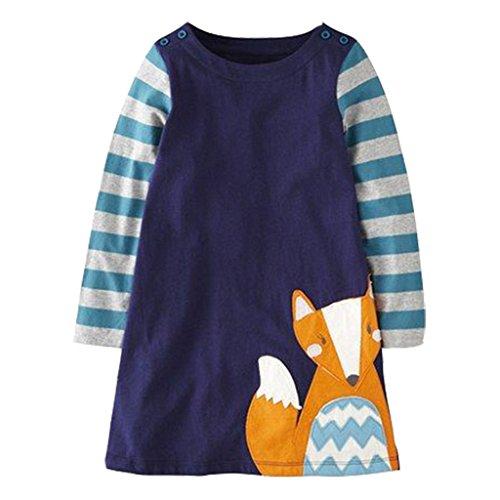 Mooler Mädchen Rundhalsausschnitt Langarm Kleider Baumwolle Cartoon Fuchs Applique A-Linie Kleid , Marine , 6 Jahre (Kleid Baumwolle Marine)