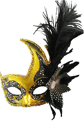 4888bb8b7b21 Sheliky Costume Mask Feather Masquerade Mask Halloween Mardi Gras Cosplay  Party Masque (001Black)